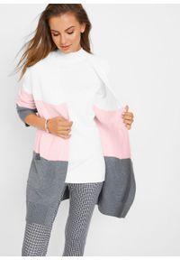 Biały sweter bonprix melanż, z długim rękawem