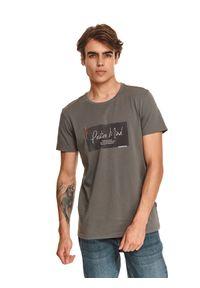 TOP SECRET - T-shirt z nadrukiem. Kolor: szary. Materiał: bawełna, tkanina. Długość rękawa: krótki rękaw. Długość: krótkie. Wzór: nadruk. Sezon: jesień
