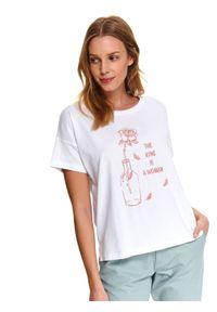 Biały t-shirt DRYWASH na lato, z krótkim rękawem, z okrągłym kołnierzem, wakacyjny