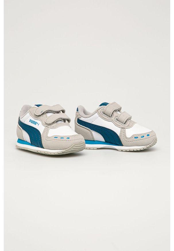 Szare buty sportowe Puma na rzepy, z cholewką, z okrągłym noskiem