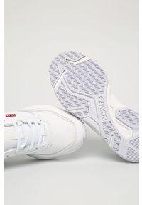 Białe sneakersy Levi's® na sznurówki, z cholewką, z okrągłym noskiem, na spotkanie biznesowe