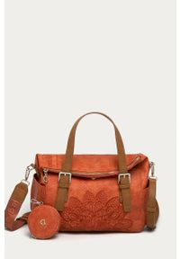 Pomarańczowa shopperka Desigual skórzana, z haftami, z haftem, na ramię