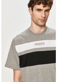Szary t-shirt Prosto. na co dzień, casualowy, z aplikacjami