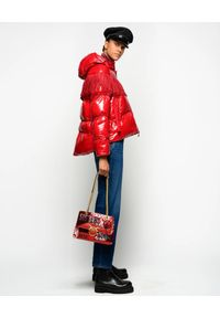 Czerwona kurtka Pinko z aplikacjami, długa, na jesień
