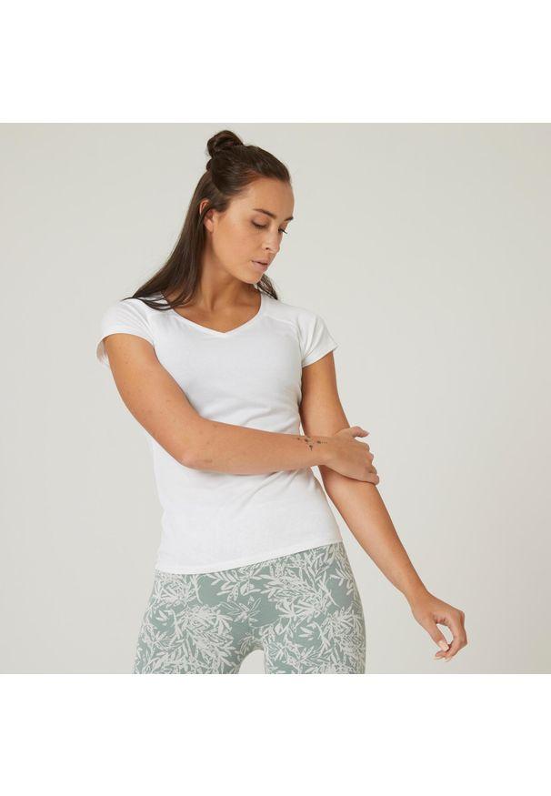 NYAMBA - Koszulka z krótkim rękawem damska Nyamba Gym & Pilates. Kolor: biały. Materiał: elastan, poliester, materiał, lyocell, bawełna. Długość rękawa: krótki rękaw. Długość: krótkie. Wzór: ze splotem. Sport: joga i pilates