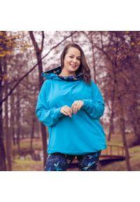 Turkusowa bluza Moda Size Plus Iwanek elegancka, krótka, na zimę