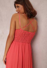Renee - Koralowa Sukienka Rozanna. Kolor: pomarańczowy. Długość rękawa: na ramiączkach. Wzór: haft. Długość: maxi