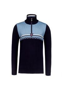 Niebieski sweter Dale of Norway z aplikacjami, elegancki