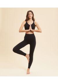 Czarne spodnie sportowe Etam na jogę i pilates, z podwyższonym stanem, długie