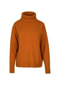 Brązowy sweter VEVA na spotkanie biznesowe, z golfem, w kolorowe wzory