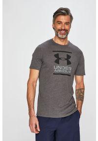 Szary t-shirt Under Armour casualowy, z nadrukiem, na co dzień