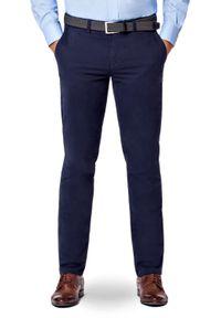 Lancerto - Spodnie Chino Granatowe Tommy II. Okazja: na co dzień. Kolor: niebieski. Materiał: elastan, tkanina, materiał, bawełna. Wzór: kolorowy. Styl: casual