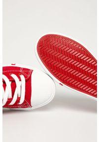 Czerwone tenisówki Big-Star na średnim obcasie, z cholewką, na sznurówki