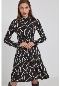 Victoria Victoria Beckham - Sukienka. Kolor: czarny. Materiał: tkanina, poliester. Długość rękawa: długi rękaw. Typ sukienki: rozkloszowane