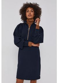 Scotch & Soda - Sukienka. Okazja: na co dzień. Kolor: niebieski. Materiał: lyocell, dzianina, materiał, tkanina, jedwab. Długość rękawa: raglanowy rękaw. Wzór: gładki. Typ sukienki: proste. Styl: casual