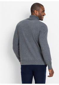 Szary sweter bonprix melanż, klasyczny, z golfem