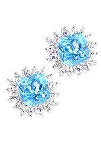 Braccatta - ORIA Srebrne kolczyki z niebieskimi topazami 2 ct.. Materiał: srebrne. Kolor: srebrny, niebieski, wielokolorowy. Kamień szlachetny: topaz