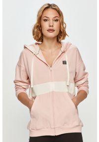 Różowa bluza rozpinana DKNY na co dzień, z kapturem, casualowa