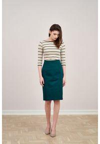 Marie Zélie - Spódnica Leto bawełna z elastanem zieleń. Materiał: bawełna, elastan