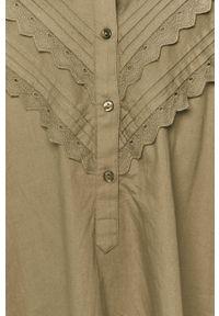 Jacqueline de Yong - Sukienka. Kolor: zielony. Materiał: bawełna, tkanina. Wzór: gładki. Typ sukienki: rozkloszowane