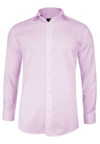 Różowa elegancka koszula Grzegorz Moda Męska na spotkanie biznesowe, z długim rękawem, długa