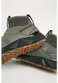 Oliwkowe sneakersy columbia z okrągłym noskiem, z cholewką