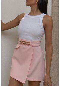 Różowa spódnica IVET casualowa, z podwyższonym stanem, na co dzień