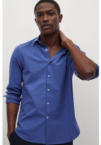 Niebieska koszula Mango Man z długim rękawem, gładkie, długa