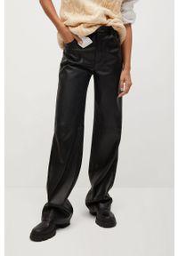 Czarne spodnie materiałowe mango z podwyższonym stanem