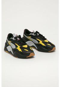 Czarne sneakersy Puma na sznurówki, z cholewką, z okrągłym noskiem