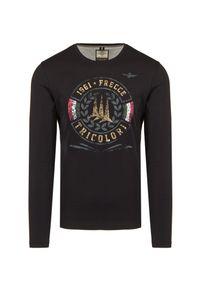 T-shirt Aeronautica Militare na co dzień, z nadrukiem, długi