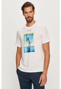 Biały t-shirt Armani Exchange casualowy, z nadrukiem, z okrągłym kołnierzem