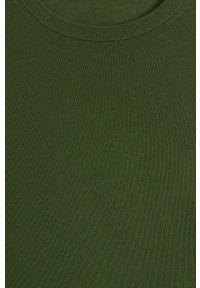 Zielony sweter Mango Man długi, z długim rękawem, z okrągłym kołnierzem, casualowy