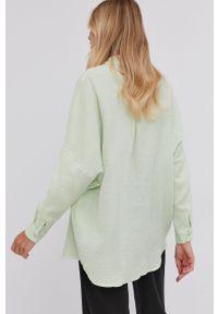 Answear Lab - Koszula bawełniana. Kolor: zielony. Materiał: bawełna. Długość rękawa: długi rękaw. Długość: długie. Wzór: gładki. Styl: wakacyjny