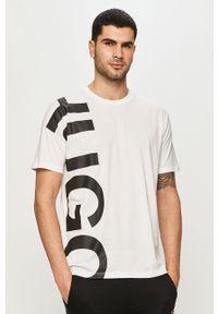Biały t-shirt Hugo na co dzień, casualowy, z nadrukiem