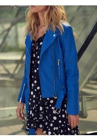 Niebieska sukienka TOP SECRET mini, elegancka, w grochy, na jesień