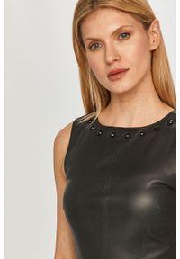 Czarna sukienka Armani Exchange rozkloszowana, gładkie, bez rękawów, mini