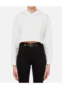 Elisabetta Franchi - ELISABETTA FRANCHI - Biała krótka bluza z monogramem. Kolor: biały. Materiał: dresówka, bawełna, jeans. Długość: krótkie