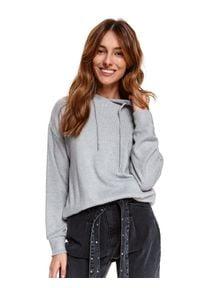 TOP SECRET - Luźny sweter z kapturem. Okazja: na co dzień. Typ kołnierza: kaptur. Kolor: szary. Materiał: tkanina. Długość: długie. Sezon: wiosna. Styl: casual