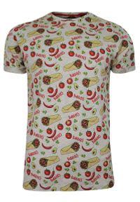 Szary Bawełniany T-Shirt Męski -Brave Soul- Koszulka, Krótki Rękaw, Burrito, Jedzenie, Meksyk. Okazja: na co dzień. Kolor: szary. Materiał: wiskoza, bawełna. Długość rękawa: krótki rękaw. Długość: krótkie. Wzór: nadruk. Sezon: wiosna, lato. Styl: casual