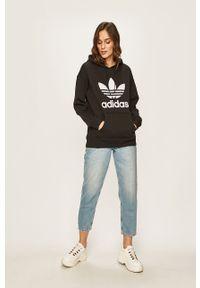 Czarna bluza adidas Originals z nadrukiem, z kapturem