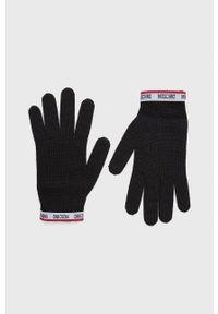 MOSCHINO - Moschino - Rękawiczki. Kolor: czarny. Materiał: dzianina