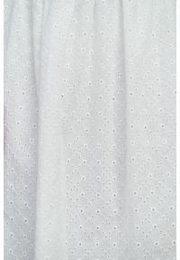 Marie Zélie - Sukienka Melania haft biały. Kolor: biały. Materiał: materiał, skóra, bawełna. Długość rękawa: krótki rękaw. Wzór: haft