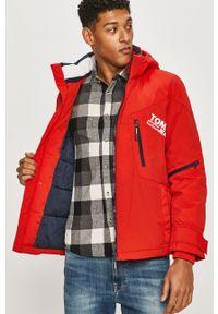 Czerwona kurtka Tommy Jeans casualowa, na co dzień, z kapturem