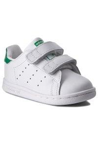Białe półbuty Adidas na rzepy, w paski, z cholewką