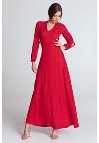 e-margeritka - Sukienka do kostek czerwona - 36. Kolor: czerwony. Materiał: poliester, materiał. Długość rękawa: długi rękaw. Wzór: gładki. Typ sukienki: rozkloszowane, proste. Styl: elegancki. Długość: maxi
