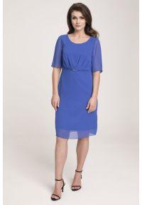 Niebieska sukienka Vito Vergelis na randkę, w kolorowe wzory