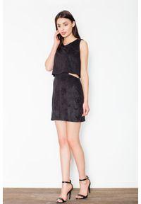 Figl - Czarna Niepowtarzalna Zamszowa Mini Sukienka. Kolor: czarny. Materiał: zamsz. Długość: mini