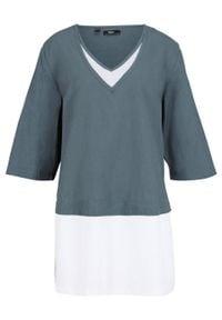 Bluzka tunikowa dwuwarstwowa bonprix zielony eukaliptusowy - biały. Typ kołnierza: dekolt w serek. Kolor: zielony