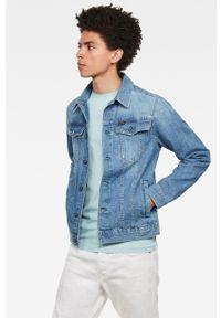 Niebieska koszula G-Star RAW klasyczna, długa, na co dzień